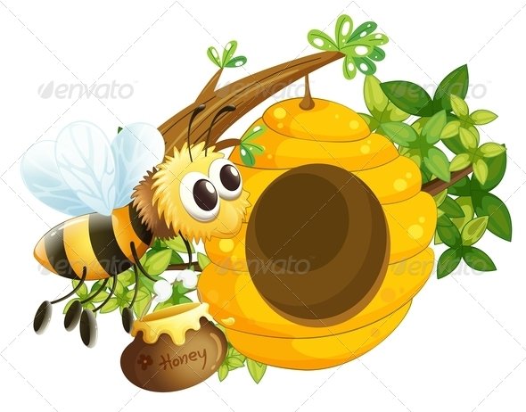 GraphicRiver Bee at Beehive 7859701