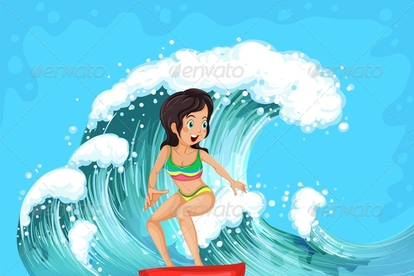 GraphicRiver Girl Surfing 7859705