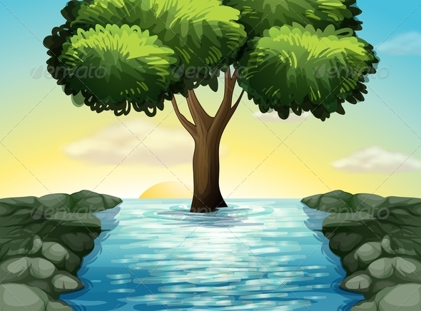 GraphicRiver Tree in the middle of the river 7859713