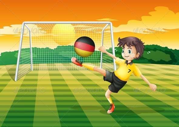 GraphicRiver Girl Kicking a Ball with German Flag 7859718