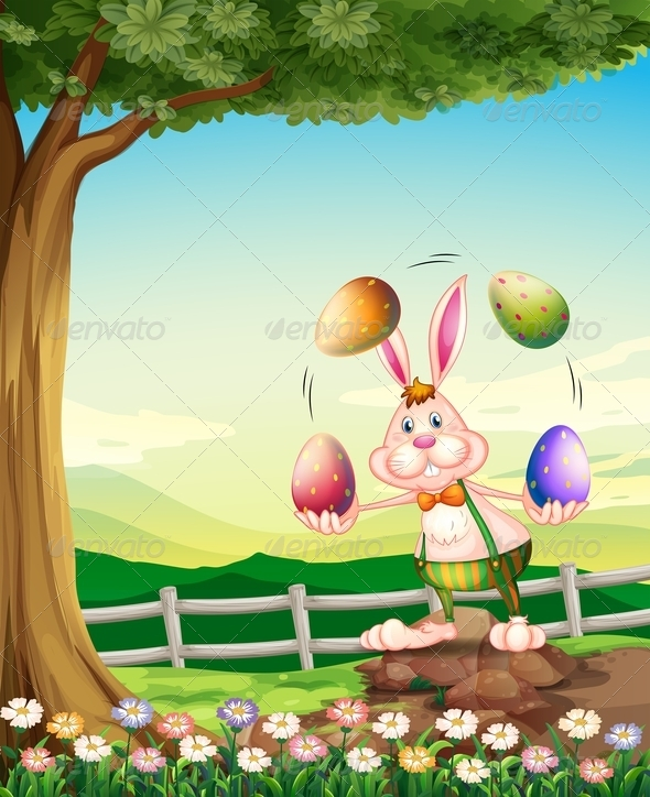 GraphicRiver Rabbit Juggling Easter Eggs 7859719
