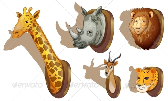 GraphicRiver Stuffed Animal Heads 7859729
