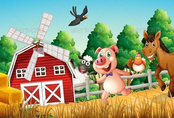 GraphicRiver Happy Farm Animals 7859734