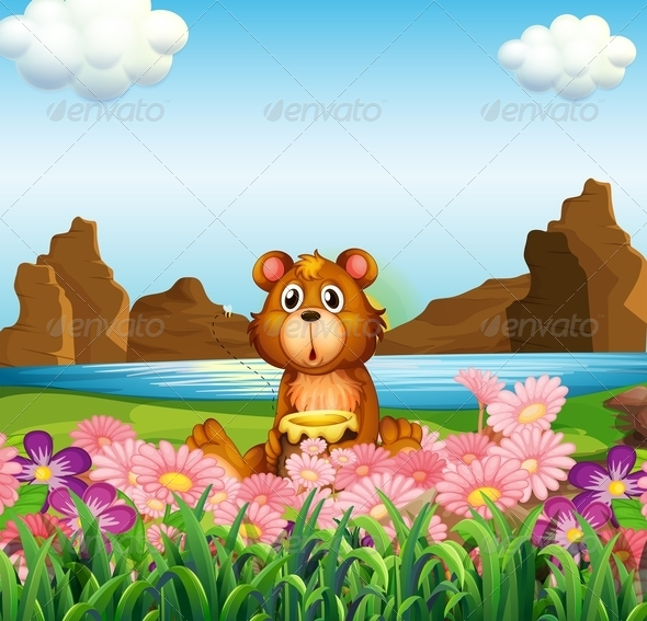 GraphicRiver Cute Bear at the Riverbank 7859735
