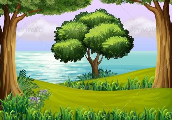 GraphicRiver Trees Near the Sea 7859740