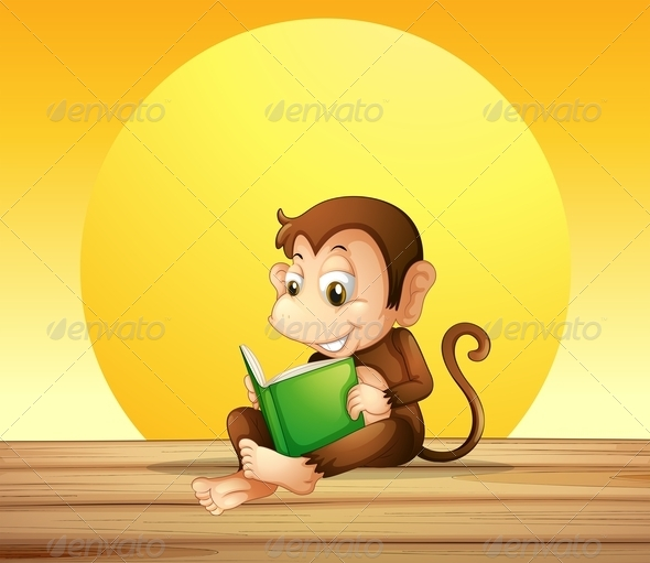 GraphicRiver Monkey Reading 7859743