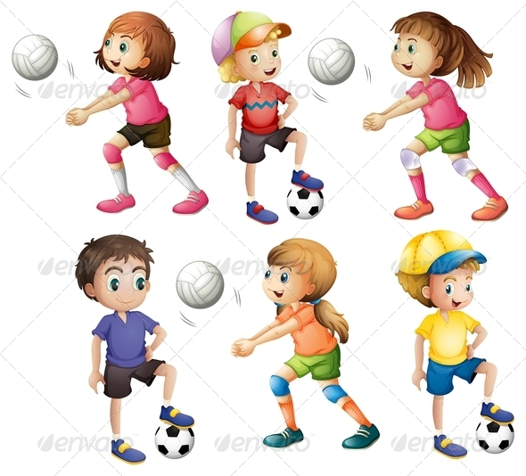 GraphicRiver Kids playing volleyball and football 7859760