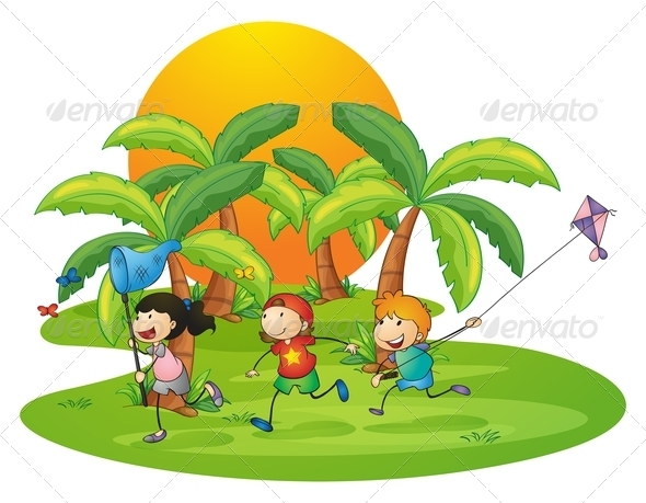 GraphicRiver Kids playing near palm trees 7859762