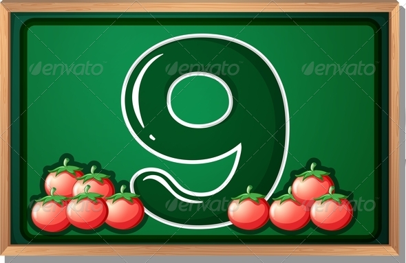 Blackboard with nine tomatoes
