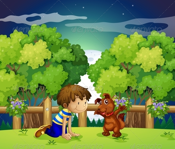 GraphicRiver Boy and Dog Playing Outdoors 7859769