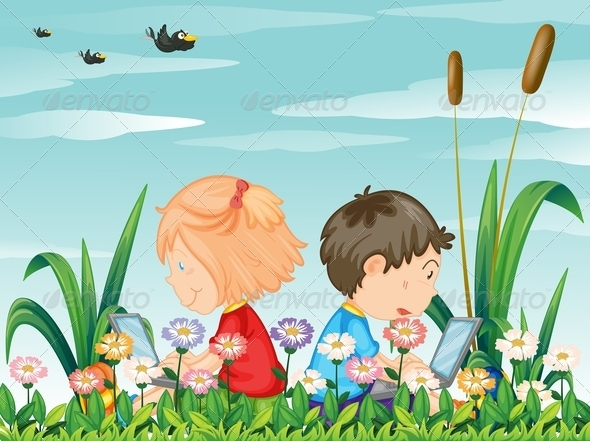 GraphicRiver Kids in the Garden with Laptops 7859776