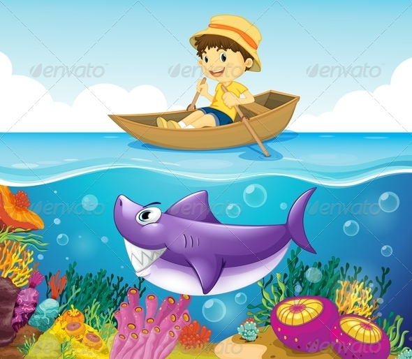 GraphicRiver Boy in a Rowboat with Shark in the Water 7859780