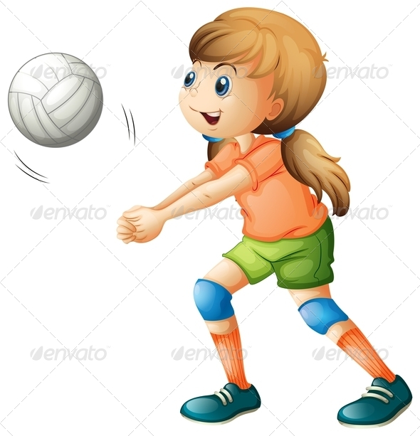 GraphicRiver Girl Playing Volleyball 7859799