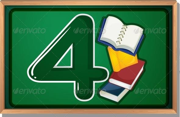 GraphicRiver Blackboard with Four Books 7859808