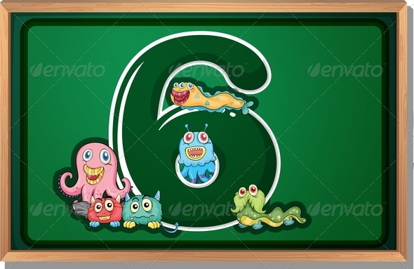 GraphicRiver Blackboard with Six Monsters 7859839
