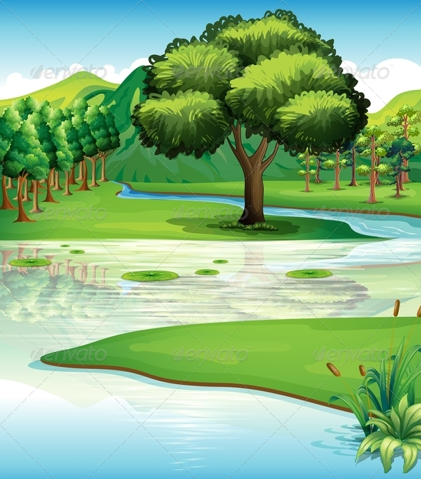 GraphicRiver Landscape with Trees and River 7859840