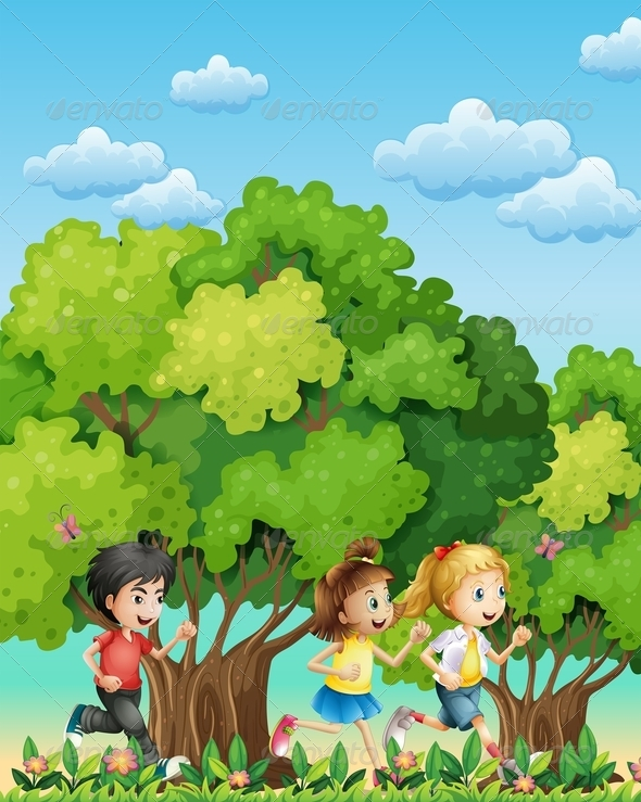 GraphicRiver Three Kids Running Outdoor 7859843