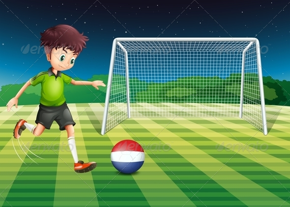 GraphicRiver Boy Kicking Netherlands Football 7859846