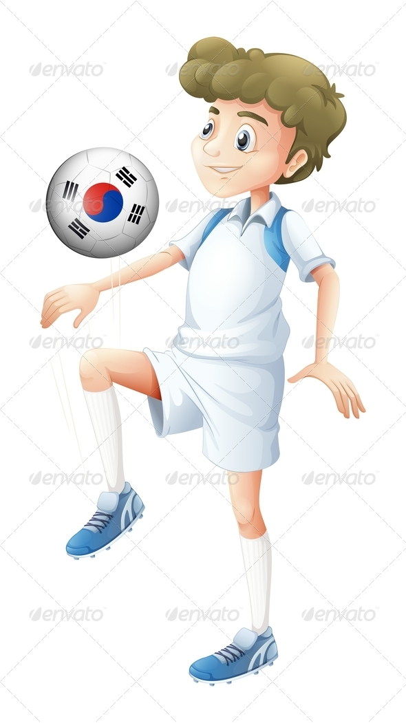 GraphicRiver Boy Playing with South Korean Soccer Ball 7859852