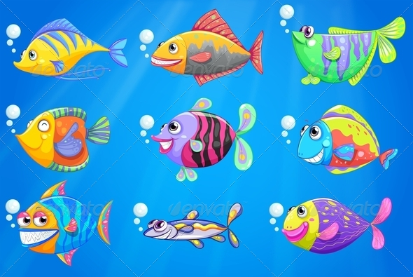 GraphicRiver School of Colourful Fishes 7859941