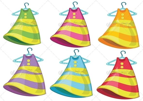 Six colourful dresses