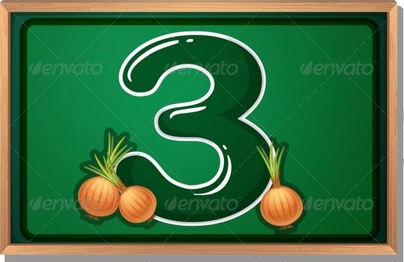 Blackboard with three onions