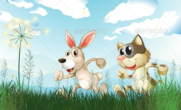GraphicRiver Rabbit and Cat in Field 7859991