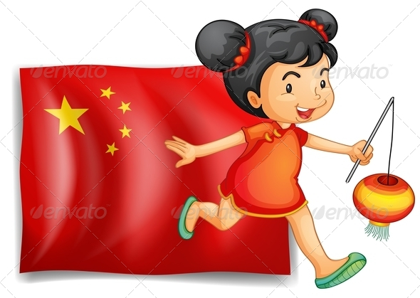 Chinese Girl with Lamp and Flag