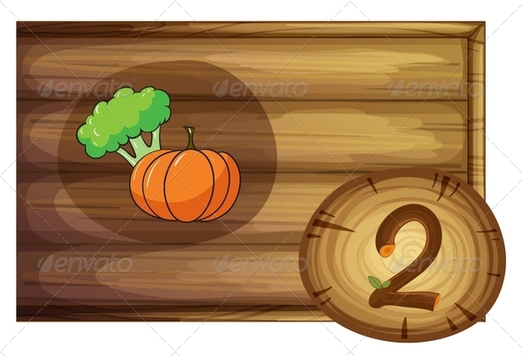 GraphicRiver Wooden frame with two vegetables 7860029