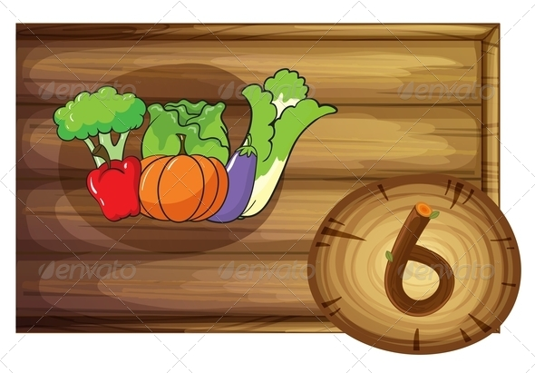 GraphicRiver Wooden frame with six vegetables 7860130
