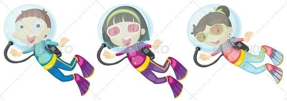 GraphicRiver Three scuba divers 7860137