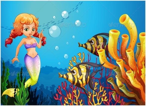 Mermaid watching two fish