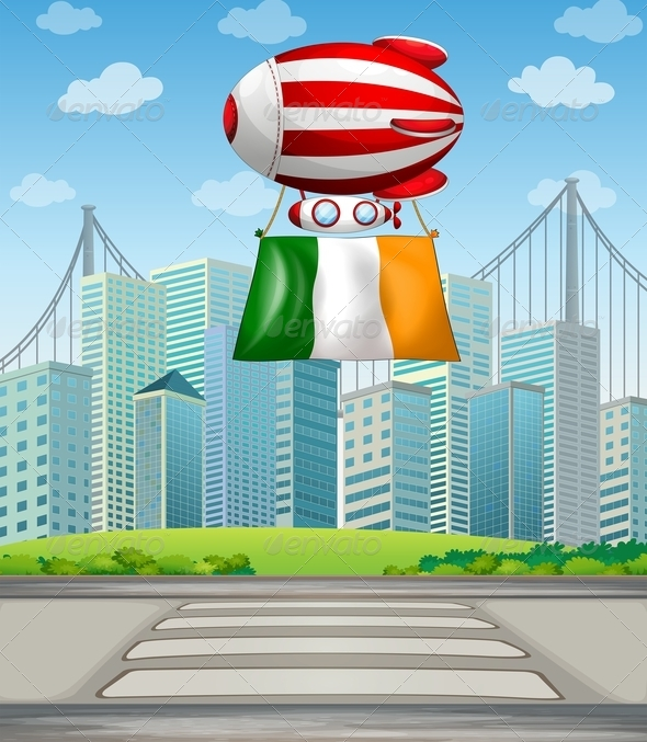 Floating balloon with Irish flag