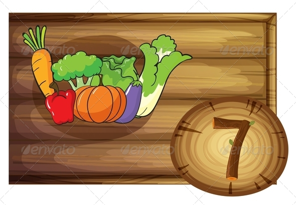 GraphicRiver Wooden Frame with Seven Vegetables 7860223