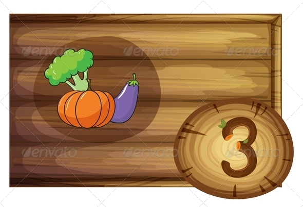 GraphicRiver Wooden frame with three vegetables 7860253