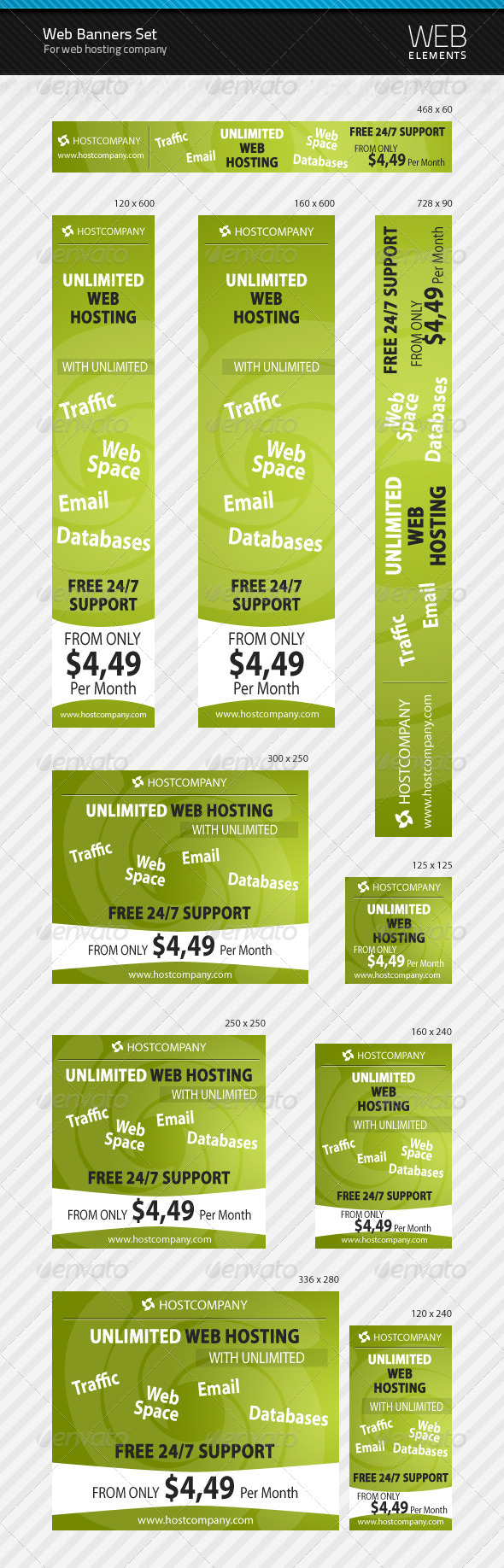 GraphicRiver Web Banners Set for Web Hosting Company 106404