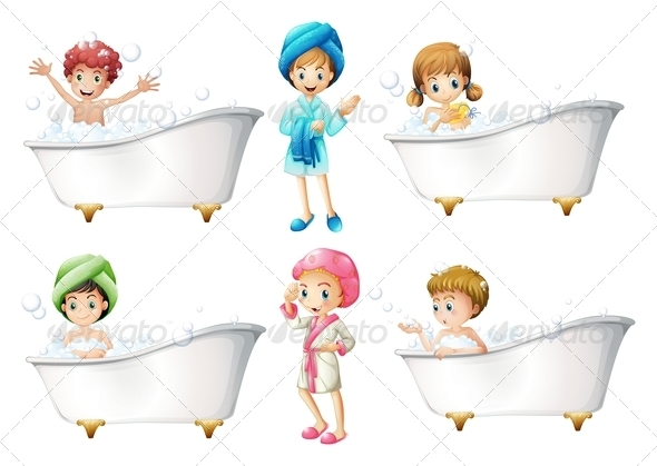 GraphicRiver Children taking a bath 7860255