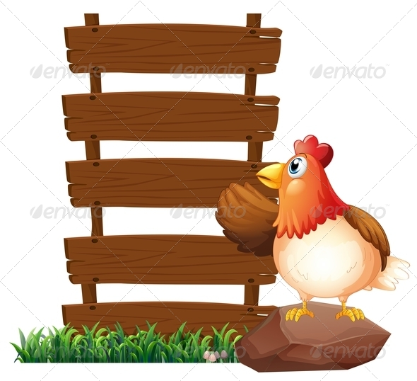 GraphicRiver Hen beside empty signboards 7860257