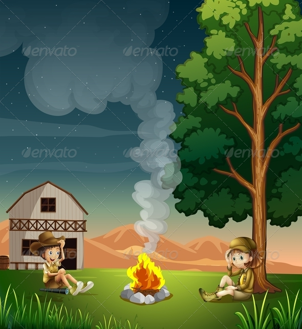 GraphicRiver Two explorers at campfire 7860259