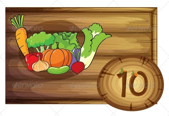 GraphicRiver Wooden frame with ten vegetables 7860263