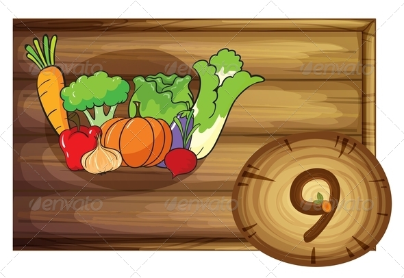 GraphicRiver Wooden frame with nine vegetables 7860276