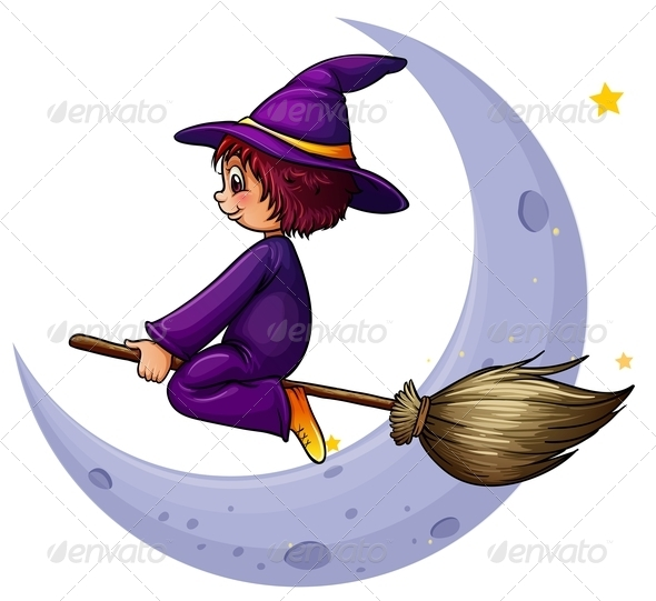GraphicRiver Witch Flying on Broomstick 7860279