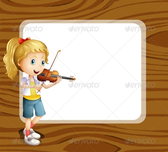 GraphicRiver Girl with Violin and Empty Template 7860281
