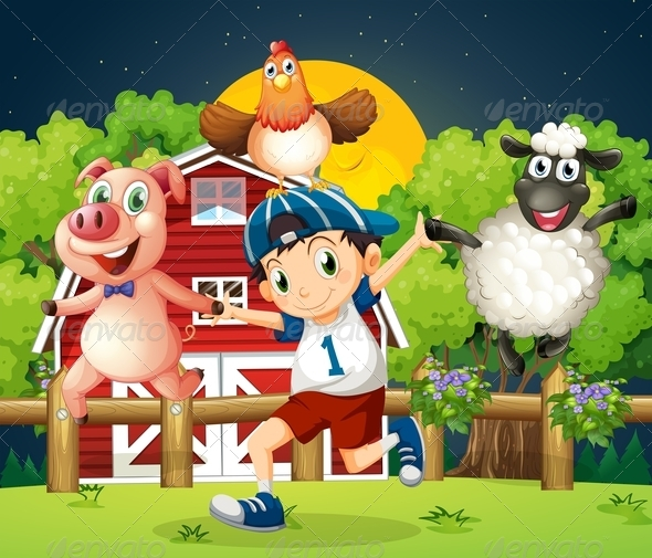GraphicRiver Boy playing with the farm animals 7860290
