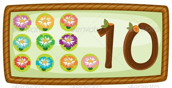 Rectangular template with ten flowers