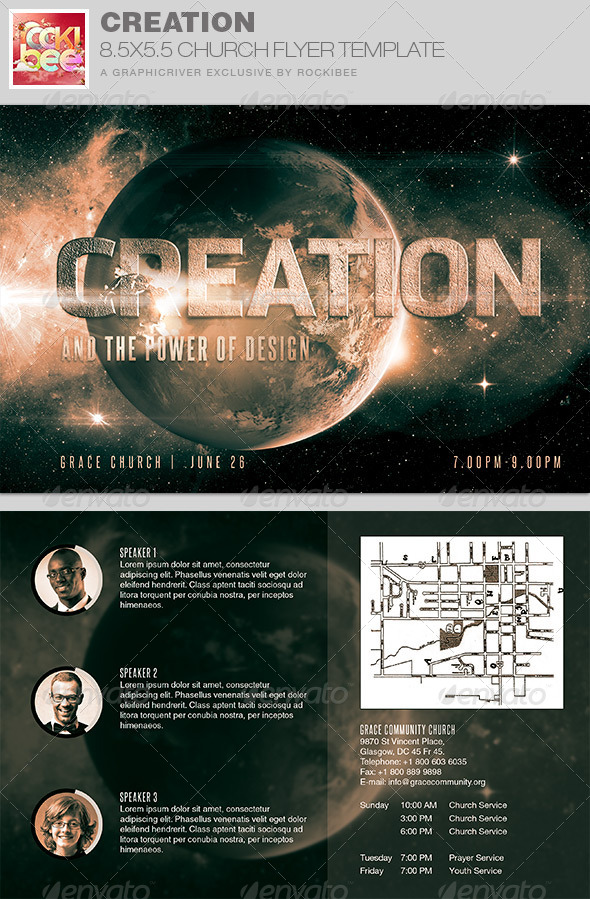 GraphicRiver Creation Church Flyer Invite Template 7860377