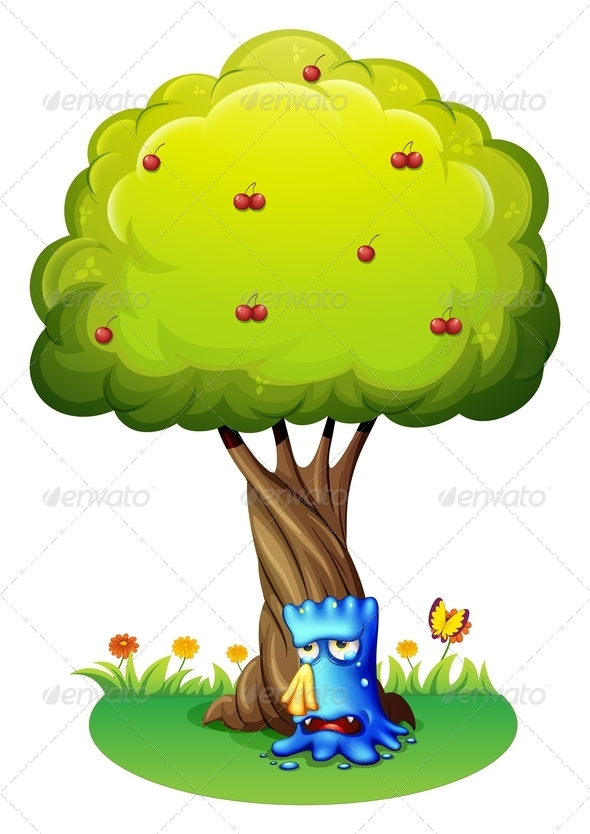 GraphicRiver Blue monster sobbing under a tree 7860431