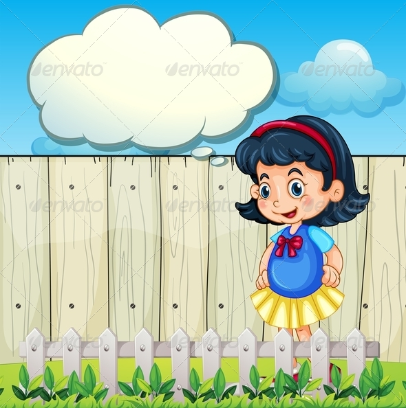 GraphicRiver Young girl in the backyard with empty callout 7860441
