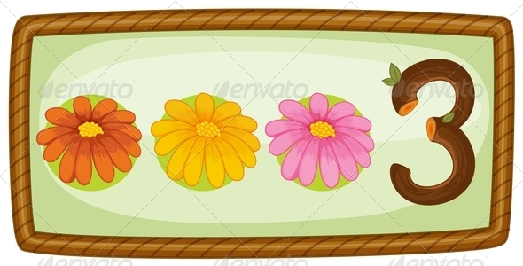 GraphicRiver Frame with three flowers 7860521