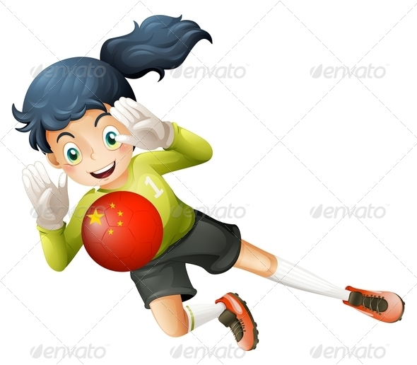 GraphicRiver Girl Catching Chinese Soccer Ball 7860538